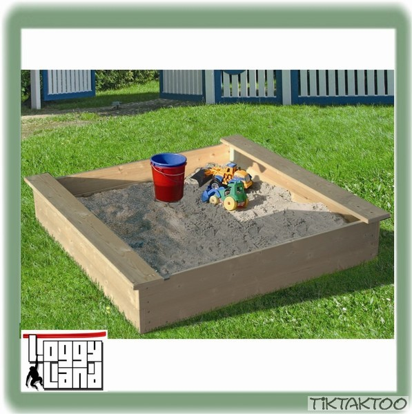 sandkasten sandkiste holz buddelkasten 120x120 cm sandbox. Black Bedroom Furniture Sets. Home Design Ideas