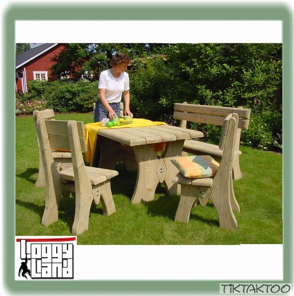 gartenm bel holz sitzgruppe gartenbank gartentisch hocker tisch massiv ab 209 ebay. Black Bedroom Furniture Sets. Home Design Ideas