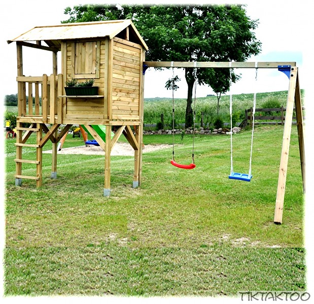 spielturm stelzenhaus kinderhaus baumhaus spielhaus mit schaukel doppelschaukel ebay. Black Bedroom Furniture Sets. Home Design Ideas