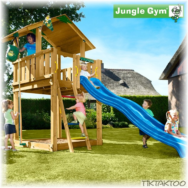 jungle gym chalet mit rutsche spielturm kletterturm stelzenhaus baumhaus holz ebay. Black Bedroom Furniture Sets. Home Design Ideas