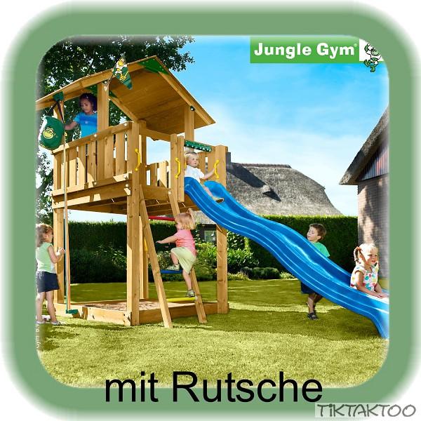 jungle gym chalet mit rutsche spielturm kletterturm stelzenhaus baumhaus holz ebay. Black Bedroom Furniture Sets. Home Design Ideas