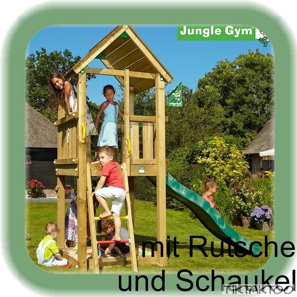 jungle gym club mit schaukel m rutsche spielturm kletterturm stelzenhaus holz ebay. Black Bedroom Furniture Sets. Home Design Ideas