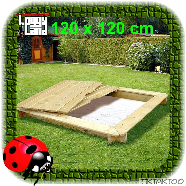 sandkasten sandkiste aus holz mit deckel 120x120 cm abdeckung neu kdi sandbox ebay. Black Bedroom Furniture Sets. Home Design Ideas