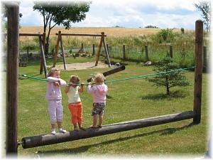 LoggyLand - Balancierbalken mit 16er Lärcherundholz Länge ca. 4,50m