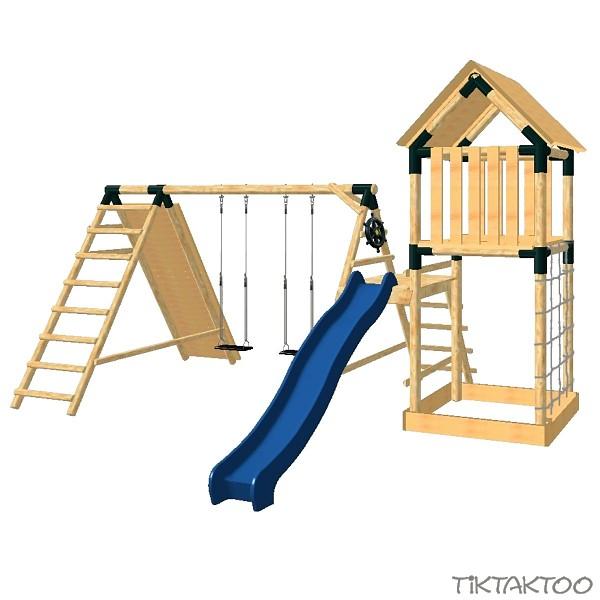 spielturm kletterturm schaukel rutsche l rche holz. Black Bedroom Furniture Sets. Home Design Ideas