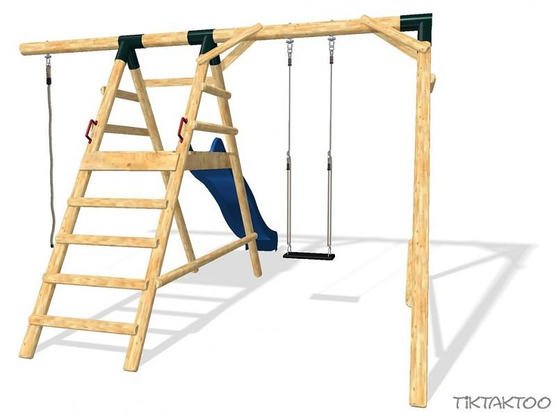 schaukel spielturm schaukelgestell rutsche kletterturm wellenrutsche 3m holz ebay. Black Bedroom Furniture Sets. Home Design Ideas