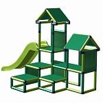 Spielturm Gesa - Kletterturm für Kleinkinder mit Rutsche und Stoffeinsätzen apfelgrün-grün