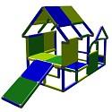 Moveandstic Spielhaus Kleinkind Baukasten Kletterturm mit Babyrutsche grün