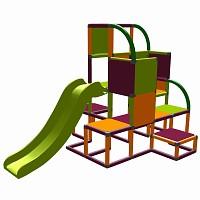 Moveandstic - Kletterturm Helge orange-magenta-apfelgrün