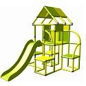 Moveandstic - Lina Spielturm mit Rutsche gelb-apfelgrün