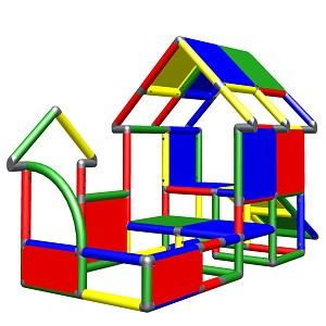 Moveandstic Kleinkind Spielhaus mit Rutsche bunt