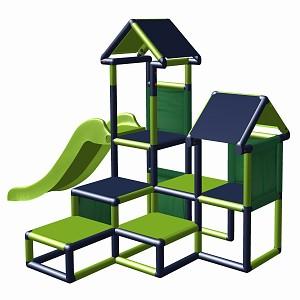 Spielturm Gesa - Kletterturm für Kleinkinder mit Rutsche und Stoffeinsätzen apfelgrün-titangrau
