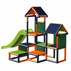 Spielturm Gesa - Kletterturm für Kleinkinder mit Rutsche und Stoffeinsätzen orange-titangrau
