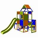 Moveandstic Lisa-großer Turm mit Rutsche orange-blau-apfelgrün