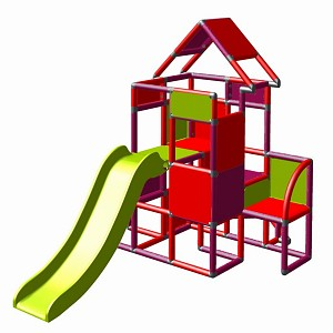 Moveandstic Lisa-großer Turm mit Rutsche magenta-rot