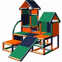 Moveandstic Kletterturm Luise in der Farbkombination orange-titangrau-grün