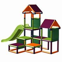 Spielturm Gesa - Kletterturm für Kleinkinder mit Rutsche und Stoffeinsätzen apfelgrün-orange-brombeer