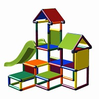 Spielturm Gesa - Kletterturm für Kleinkinder mit Rutsche und vielen Platten multicolor