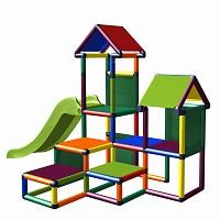 Spielturm Gesa - Kletterturm für Kleinkinder mit Rutsche und Stoffeinsätzen multicolor