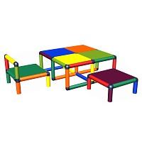 Moveandstic Kleinkind-Sitzgruppe Vanny Tisch, Stuhl und Hocker multicolor