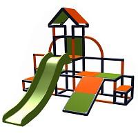 Moveandstic - Charlin Spielturm mit Rutsche und Schräge, apfelgrün-orange-titangrau