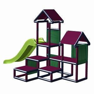 Spielturm Gesa - Kletterturm für Kleinkinder mit Rutsche und Stoffeinsätzen - titangrau/magenta