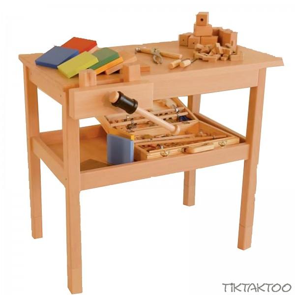 werkbank mit schraubstock holz buche kinder kinderwerkbank ebay. Black Bedroom Furniture Sets. Home Design Ideas