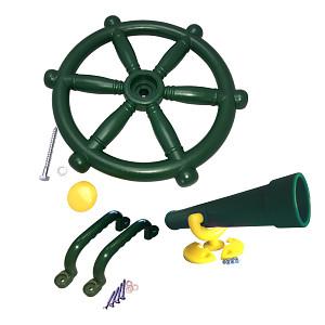 Spielturm-Set Piraten-Lenkrad, Fernrohr und Handgriffe grün