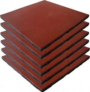6er Set Fallschutzmatten Gummimatten rot/braun
