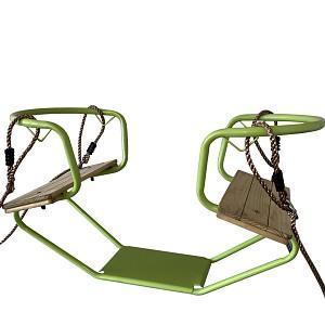Doppelschaukel Metall Doppelsitzschaukel Gesicht zu Gesicht apfelgrün