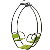 Doppelschaukel Cocoon Gondelschaukel aus Metall Schaukelsitz für 2 Kinder, grau grün