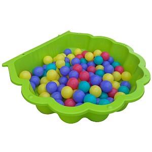 apfelgrüne Wassermuschel mit 100 bunten Bällen