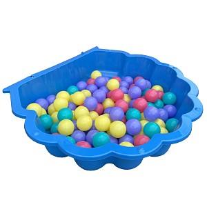 blaue Wassermuschel mit 100 bunten Bällen