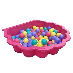 pinke Wassermuschel mit 100 bunten Bällen