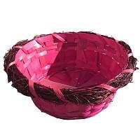 Osterkorb Osterkörbchen Osterdeko rund pink, leer