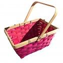 Osterkorb Osterkörbchen Osterdeko eckig mit Henkel rosa, leer