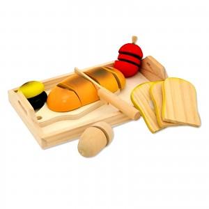 Frühstück Set Kaufladenzubehör Kinderküche Holz Tablett Brot Ei Frucht Toastbrot