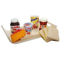 Frühstücks Set aus Holz Kaufladen Kinderküche Spielküche Kaufmannsladen Spielzeug