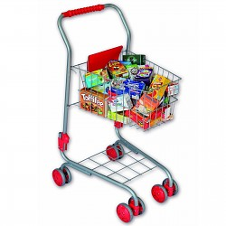 Pretend Play Shopping Cart with Groceries