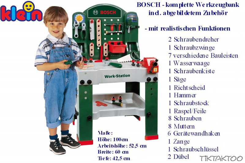 bosch mini werkbank f r kinder mit werkzeug klein 8580. Black Bedroom Furniture Sets. Home Design Ideas