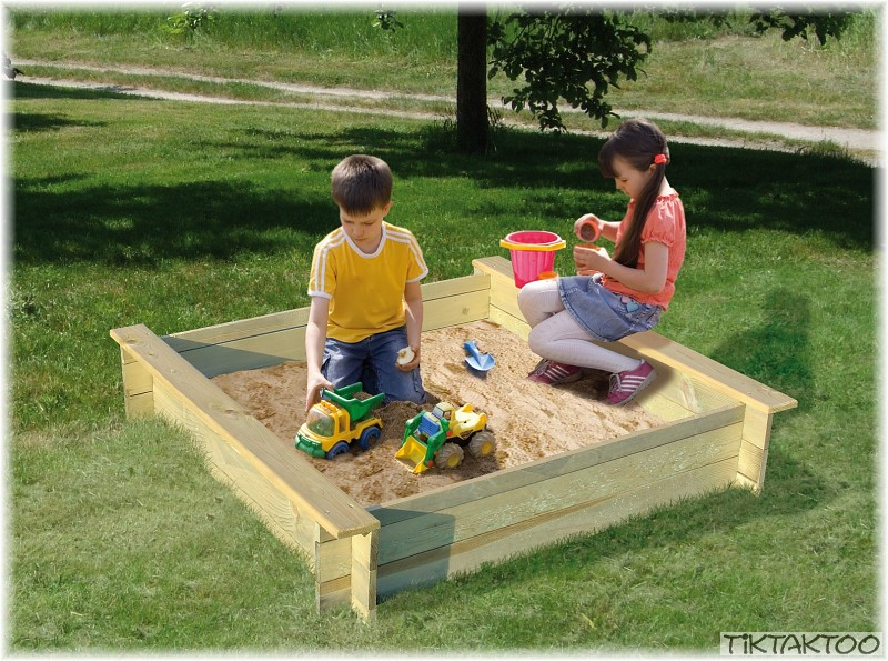 sandkasten sandbox sandkiste holz kinder 4 eck neu ebay. Black Bedroom Furniture Sets. Home Design Ideas