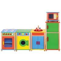 Kinderküche Holz Set Spielküche Holzküche Küche Herd Waschmaschine Kühlschrank Spü