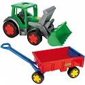 Wader XXL Gigant Traktor Frontlader incl Anhänger Handwagen Trekker mit Hänger