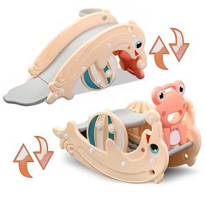 2in1 Delfin Rutsche / Frosch Wippe - Apricot
