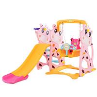 Kleinkindkombi mit Schaukel und Rutsche Kuh - Pink