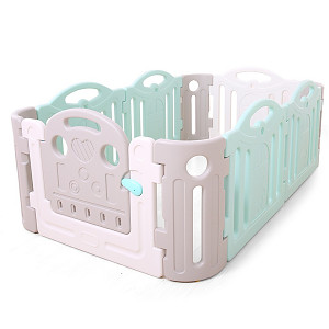 Laufgitter aus Kunststoff - grau/weiß/mint