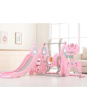 XXL-Kleinkindkombi mit Schaukel, Tor, Korb und Rutsche - Pink