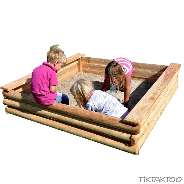 sandkiste sandkasten l rche holz 155x155x33cm sandbox o deckel o spielsand neu ebay. Black Bedroom Furniture Sets. Home Design Ideas